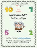 Numbers 0-20 Fun Worksheets 220 pages