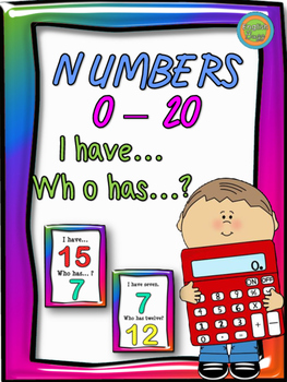 """Numbers 0-20 - Game """"I have... Who has...?"""""""