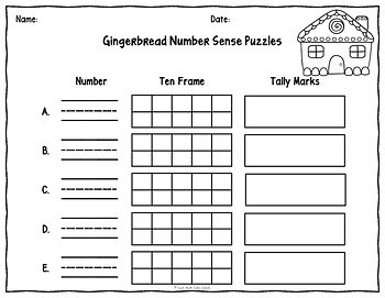 Number Sense 0-20 Gingerbread Puzzles