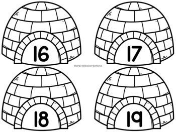 Numbers 0-50 Hide and Seek Pocket Chart Game - Penguins