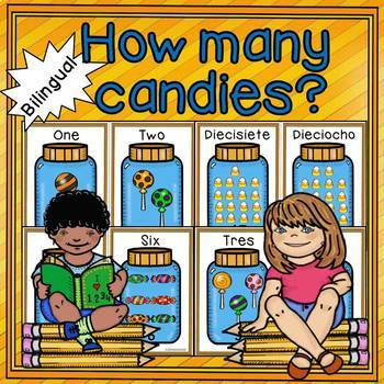 Numbers 0-20. How many candies in the jar-Cuantos dulces e