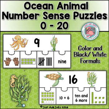 Number Sense 0-20 Ocean Animal Puzzles