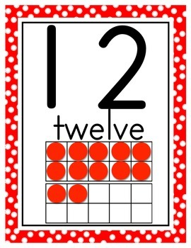 Numbers 0-20 Posters *Red & Black Polka Dots *Disney Theme