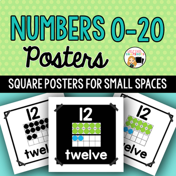 Numbers 0-20 Posters for Small Spaces