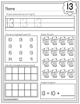 Numbers 0 - 20 Practice Sheets