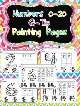 Numbers 0-20 Q-Tip Painting Pages- Preschool or Kindergarten Math