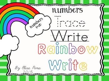 Numbers 0-20 Rainbow Writing