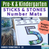 Numbers 0-20: Recognition & Formation {STICKS & STONES} Number Mats
