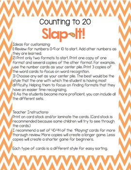 Numbers 0-20 Slap-It Card Game/Center with numbers, words & more