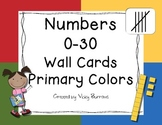 Numbers 0-30 Wall Cards Primary Colors