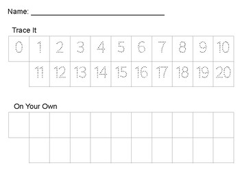 Numbers 0-20 Writing Practice
