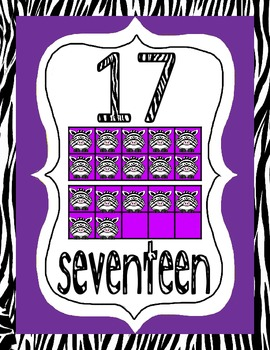 Numbers 0-20 Zebra Theme - New & Improved Fonts