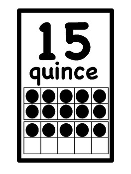 Numbers 0-20 in Spanish w. ten frames.