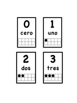 Numbers 0-20 in Spanish w. ten frames