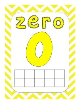 Numbers - 0-20, numeral, number word, tens frames, bright colored chevron