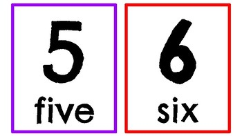 Numbers 0-20 white and rainbow colors