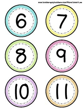 Numbers 0-20 with Chevron Theme