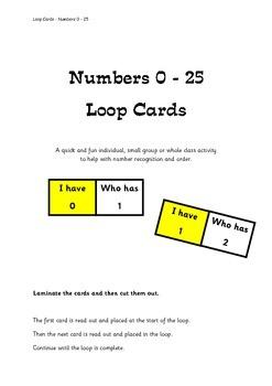 Numbers 0 - 25 Loop Cards