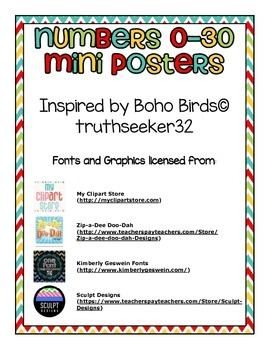 Numbers 0-30 Mini Posters (Boho Bird Inspired)