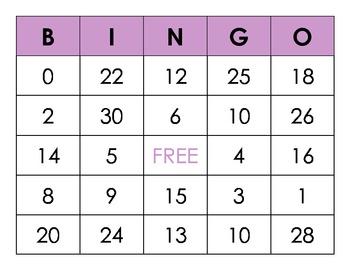 Numbers 0-30 Recognition BINGO