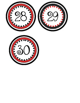 Numbers 0-30: Red and Black