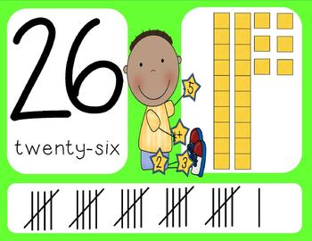 Numbers 0-30 Wall Cards Bright Colors