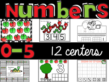 """Number Sense 0-5 : 12 math centers with """"I can"""" statements {Apple theme}"""