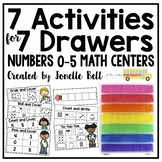 7 Activities For 7 Drawers Numbers 0-5 Math Centers