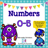 Numbers 0-5 Playdough Mat, Worksheets, Counting Mat, and More