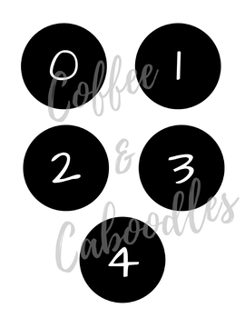 Numbers 0-9 Black and White