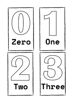 picture regarding Printable Numbers 0-9 identify Figures 0 - 9 Flashcards Black and White