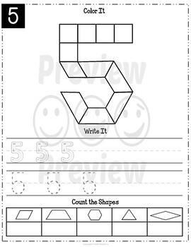 Pattern Blocks Mats Numbers 0 - 9