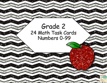 Numbers 0-99 -Choose the larger Number- Grade 2 -Math Task Cards-Apple Theme