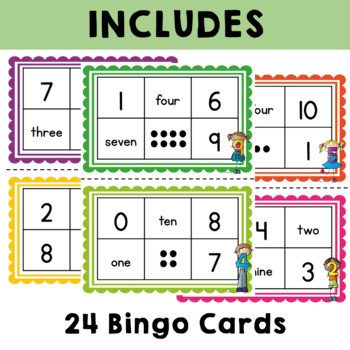 Numbers 0 to 10 Bingo with Words and Pictures