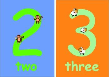 Numbers 0 to 10  Flashcards for Younger Children .