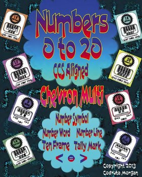 Numbers 0 to 20 - Number Posters in Chevron Multi - Colors. CCS Aligned.