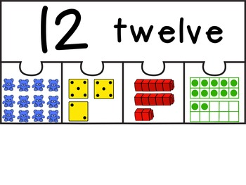 Numbers 0 to 20 Puzzles- Preschool or Kindergarten
