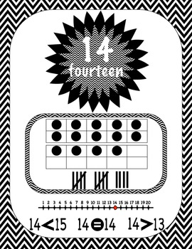 Numbers 0 to 20 - Number Posters in Black Chevron. CCS Aligned.