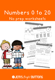 Numbers 0 to 20 worksheets - no prep