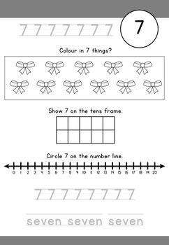 Numbers 0 to 20 worksheets - no prep