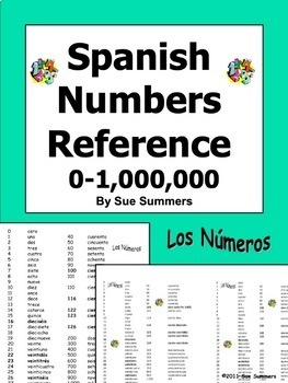 Spanish Numbers Reference 0 - 1,000,000 - Los Números