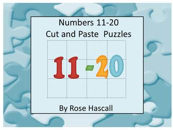 Numbers Cut and Paste Puzzles 11-20, Kindergarten, Special Education