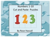 Numbers Cut and Paste Puzzles 1-10, Kindergarten, Special Education