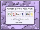 Number Match, Math Centers, Numbers Two Piece Puzzles 1-10, Special Education