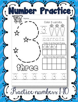 number practice 1 10 by cahill 39 s creations teachers pay teachers. Black Bedroom Furniture Sets. Home Design Ideas