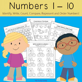 Numbers 1-10 Worksheets (Kindergarten Math, Back to School)