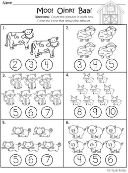 Numbers 1-10 Worksheets (Kindergarten)