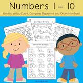 Numbers 1-10 Worksheets (Kindergarten Math, Back to School