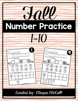 Numbers 1-10 Activity Pages (Fall Themed)