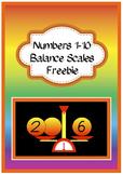 Numbers 1-10 Balance Scales Freebie